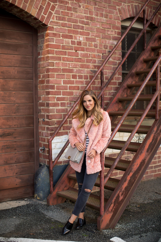 gal meets glam blogger jeans bag winter coat pink coat fuzzy coat black jeans ripped jeans pointed toe winter outfits