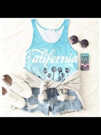 t-shirt top blue summer style fashion california sungalsses