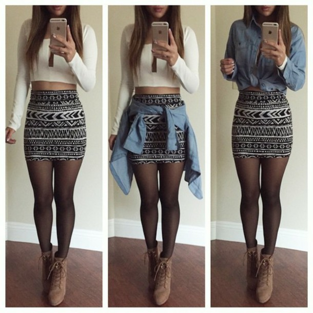 skirt blouse shoes