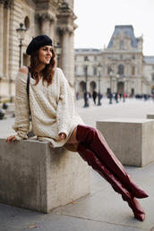 style scrapbook,blogger,sweater,bag,shoes,boots,over the knee boots,red boots,beret,sweater dress,winter outfits