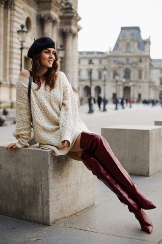 style scrapbook blogger sweater bag shoes boots over the knee boots red boots beret sweater dress winter outfits