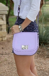 bag,light purple,crossbody bag,kate spade,pastel bag,purple,lavender,scalloped,handbag,skirt,preppy