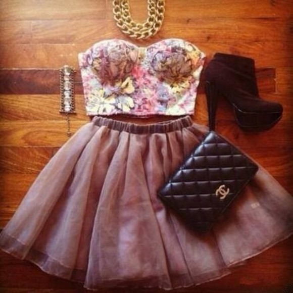 skirt necklace shirt purse floral crop tops boots