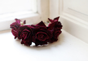 hair accessory,flower hairband,roses,burgundy,crown,hipster wedding,valentines day gift idea,hair adornments
