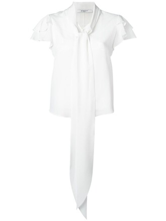 blouse ruffle women white silk top