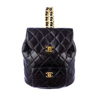 bag black leather mini backpack chanel