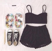 shirt,86,pom,pom pom shorts,top,shorts,t-shirt,black lace shorts,bralette black,crop tops,black shirt,white,flower crown,number,converse,tank top,skirt,white top,flowers,black,bra,shoes,floral,graphic tee