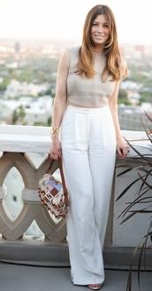 pants,white,white pants,jessica biel