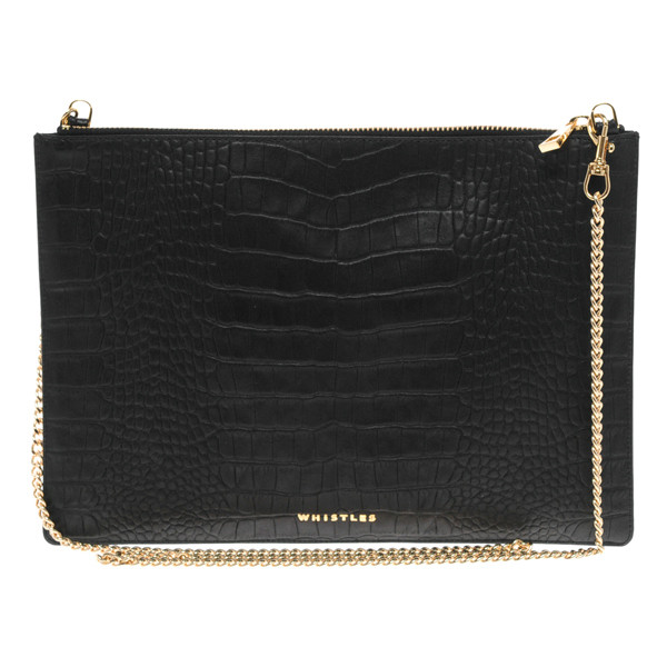 Whistles rivington chain leather clutch