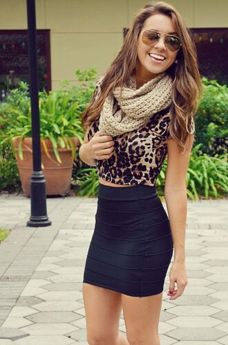 skirt black pencil skirt knitted scarf leopard print crop tops aviator sunglasses spring cheetah is the new black shirt