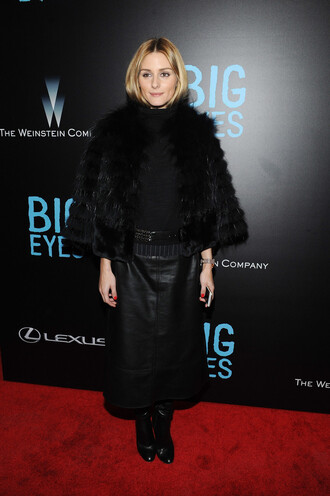 coat fur fur coat olivia palermo leather skirt midi skirt