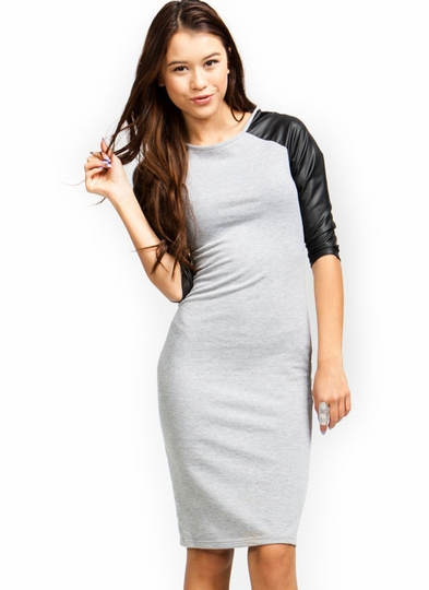 Good-Sport-Contrast-Raglan-Dress GREY WHITE RED - GoJane.com