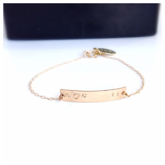 jewelry bracelets charm bracelet jewels gold jewelry fashion engraved initial bracelet name plate valentines day