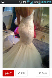 dress,lace,wedding dress,tulle skirt,button back,mermaid wedding dress,mermaid prom dress,backless white dress,long dress,wedding,white,wedding clothes,wedding ring,white dress,backless dress,backless,bride,bridal,lace wedding dress,mermaid dresses,lace dress,prom,exactly like this