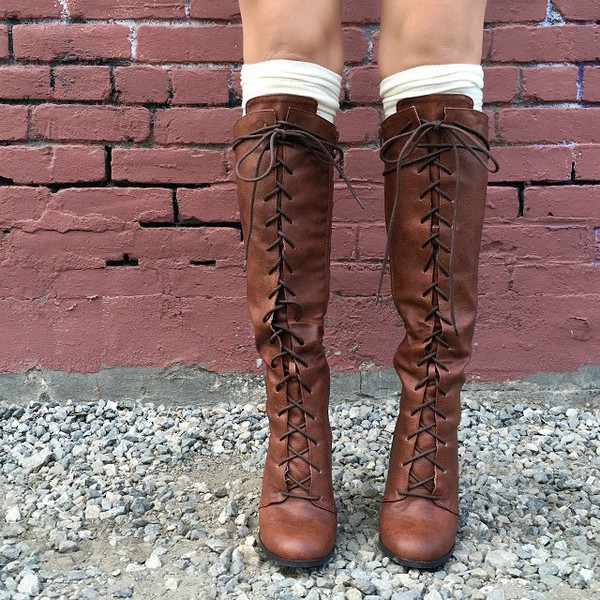Go Chunky Laced Knee-High Boots BLACK TAUPE COGNAC - GoJane.com