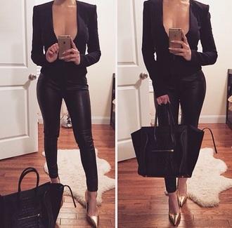 shirt black black shirt all black everything celine heels deep v deep v neck pants