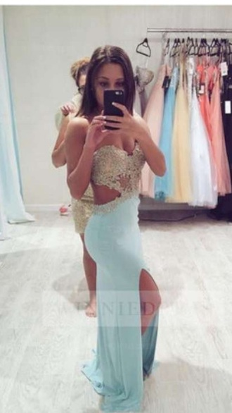 dress blue prom blue dress prom dress prom gown long prom dress long dress elegant dress elegant diamonds girl girly jewels beautiful light blue sky blue date outfit party dress