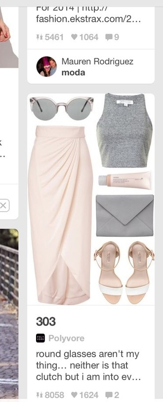 skirt grey t-shirt pink dress two-piece pink skirt pastel pink crop tops crop cute dress sleeveless sunglasses summer dress summer top summer summer outfits spring style fashion chic summer maxi maxi dress maxi sexy dress slit skirt clutch sandals beach pretty top bag