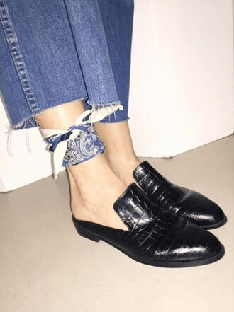 shoes loafers mules black shoes leather shoes crocodile bandana cropped jeans bandana print outfit idea