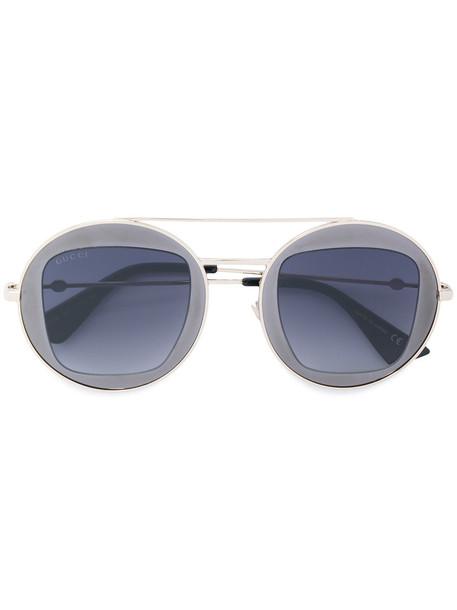 Gucci Eyewear - Round metal frame sunglasses - women - Acetate/metal - 47, Grey, Acetate/metal