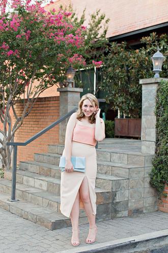 glitter&spice blogger shoes jewels dress skirt top clutch sandals summer outfits midi skirt slit skirt crop tops