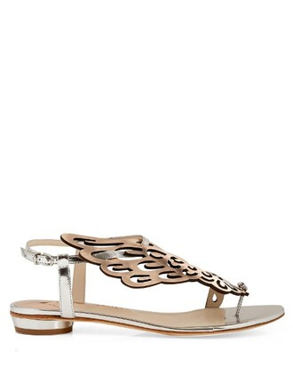 wings angel sandals flat sandals silver white shoes