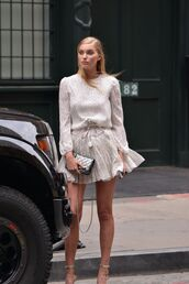 dress,mini dress,sandals,romantic summer dress,blouse,skirt,elsa hosk,model,polka dots,white dress