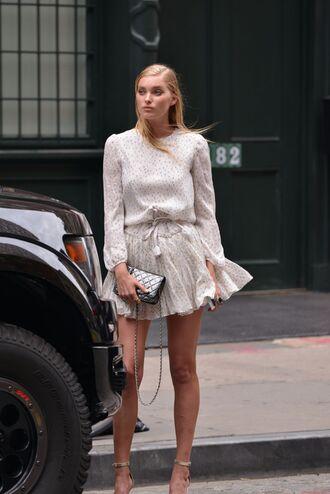 dress mini dress sandals romantic summer dress blouse skirt elsa hosk model polka dots white dress summer dress long sleeve dress