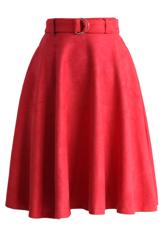 skirt belted suede a-line skirt in red a-line red suede chicwish