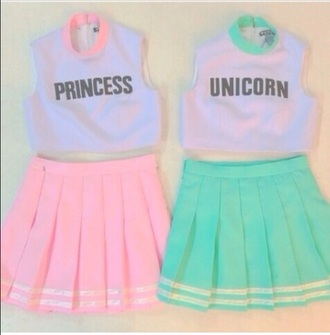 blouse for me and bestiee. pastle pink pastle skirt princess unicorn style