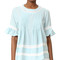 English factory lace boho blouse - light blue