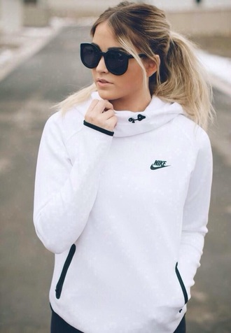 jacket nike white black sportswear sweater sunglasses