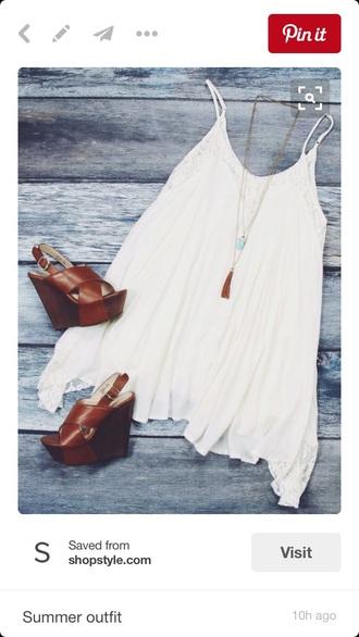 dress sundress spaghetti strap white dress white lace dress flowy