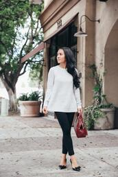 stylish petite,blogger,sweater,pants,shoes,bag