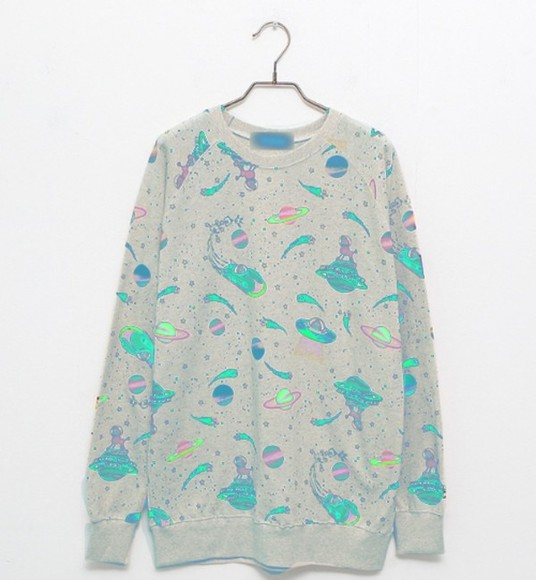 space sweater grey sweater kawaii sweater kawaii neon