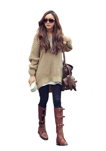 Irregular sweet women spring long hem knitwear hooded knitting sweater 8hot online