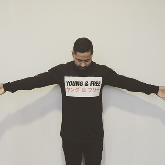 shirt black young and free jumper