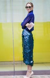 skirt,olivia palermo,blouse,top,blue skirt,mermaid,chiffon,nude high heels,burberry,texture,fashion week 2014,sea creatures