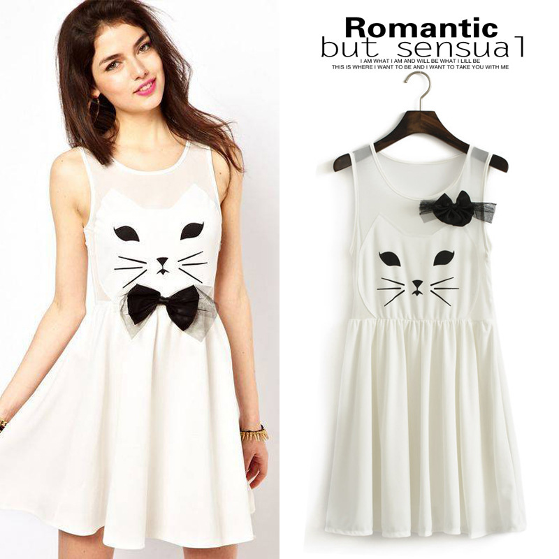 Korean sweet princess kitty bow waist vest dress women's ...