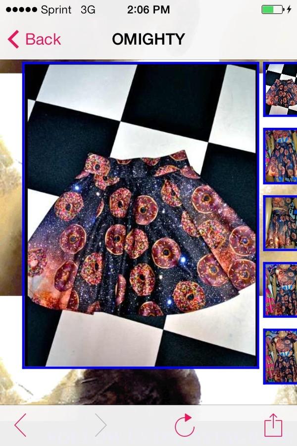 skirt skater skirt donut galaxy print