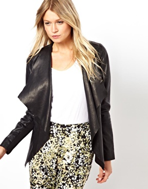 Oasis | Oasis Waterfall Leather Jacket at ASOS