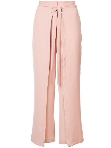 Yigal Azrouel pants women tie front purple pink