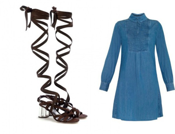 the fashion eaters blogger denim dress gladiators