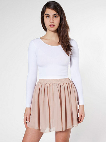 American Apparel - Chiffon Double-Layered Shirred Waist Skirt