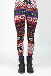 pants,tribal pattern,leggings,aztec leggings,printed leggings,christmas leggings,aztec,snow