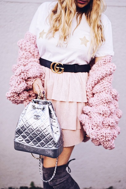 98baa98ad9006b bag chanel gabrielle backpack silver pink chanel backpack metallic skirt  Accessory