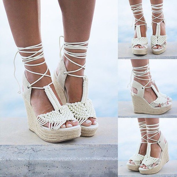 shoes, off white wedges, wedges, lace