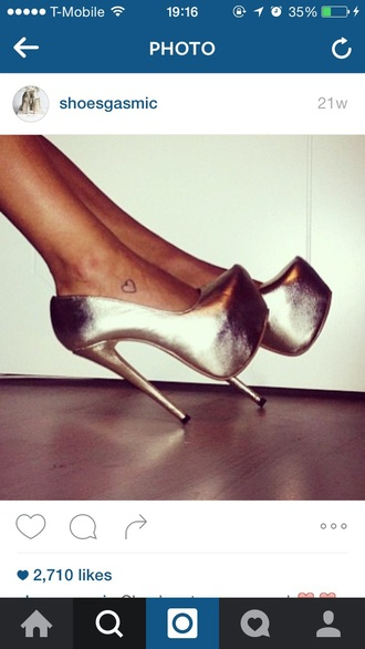 shoes metallic shoes high heels