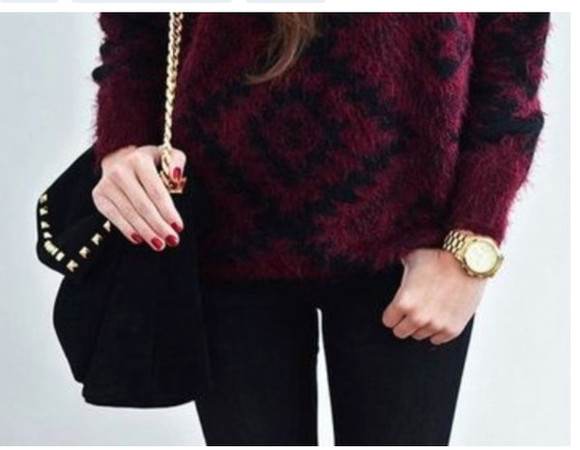sweater red red sweater aztec cute sweater