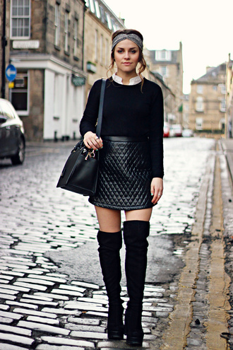 the little magpie blogger headband black sweater quilted leather skirt thigh high boots